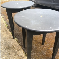 2 black solid tables - Prop Hire from The Props List